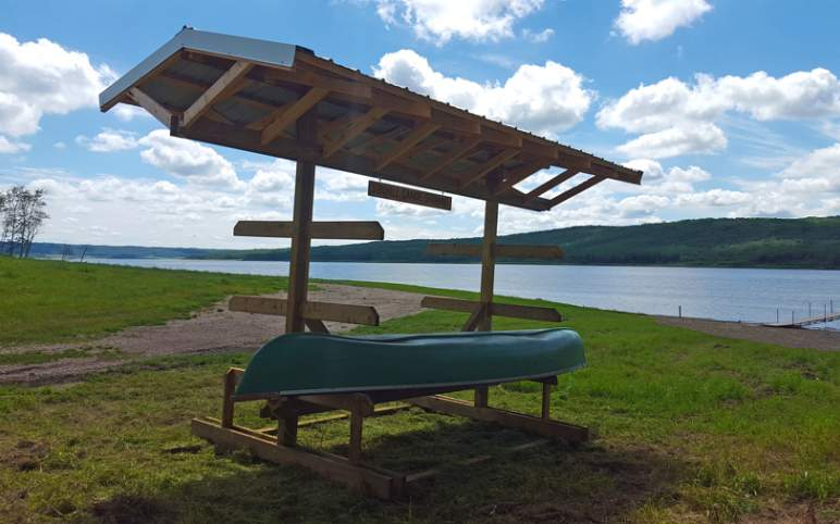 lake front recreational area new canoe/kayak storage rack