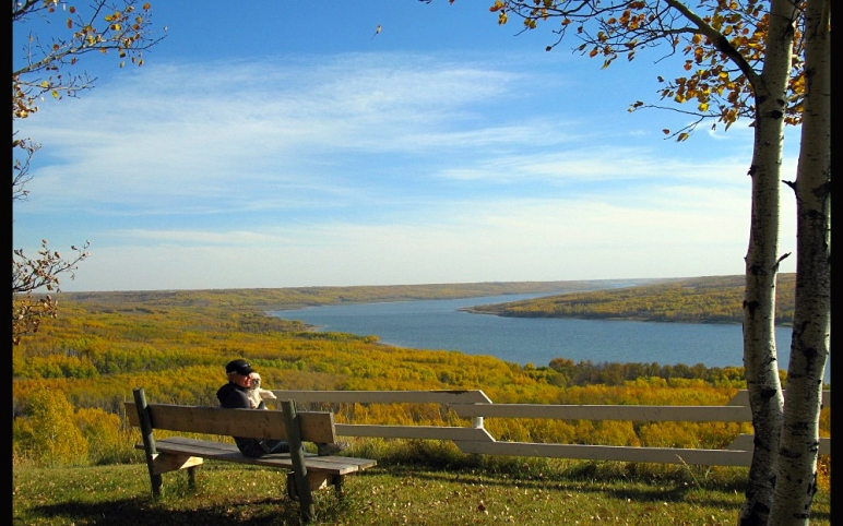 taking in the beauty from the point bench
